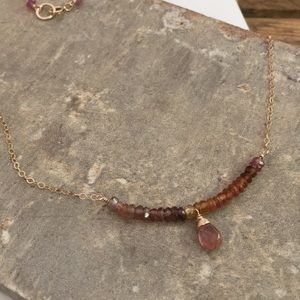 Tundra sapphire Tourmaline 14k goldfill necklace